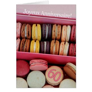 60th French Birthday Macaron-Joyeux Anniversaire! Greeting Card