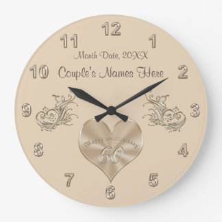 60th Wedding Anniversary Gift Couple's NAMES, DATE Wall Clocks