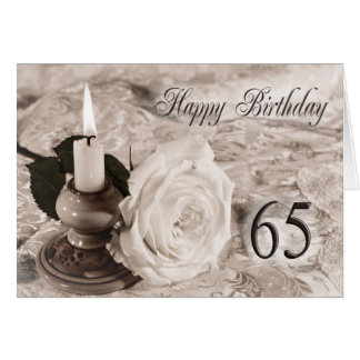 65th Birthday card with an antique rose