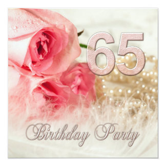 65th Birthday party invitation, roses and pearls 13 Cm X 13 Cm Square Invitation Card