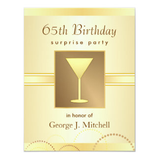 65th Birthday Surprise Party Invitations - Gold