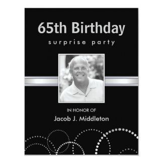 65th Birthday Surprise Party Photo Invitations