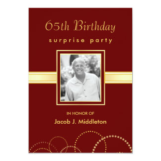 65th Birthday Surprise Party - Photo Optional 13 Cm X 18 Cm Invitation Card
