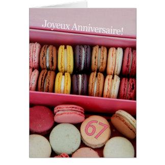 67th French Birthday Macaron-Joyeux Anniversaire! Note Card