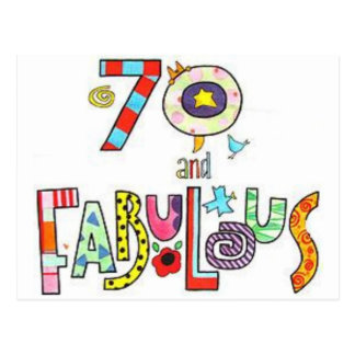70 & Fabulous Colorful Birthday Lettering Balloons Postcard