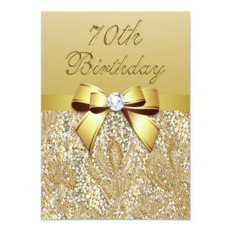 70th Birthday Gold Faux Sequins and Bow 13 Cm X 18 Cm Invitation Card