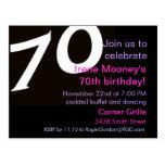 70th Birthday Postcard Invitation 70th Seventieth
