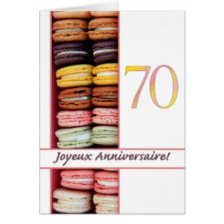 70th French Birthday Macaron-Joyeux Anniversaire! Greeting Card