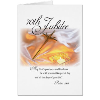 70th Jubilee Religious Life, Nun, Cross Candle Greeting Card