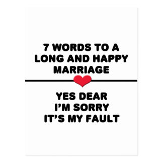 7 Words For A Long and Happy Marriage Postcard