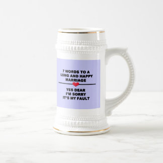 7 Words To A Long Marriage Beer Steins