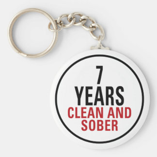 7 Years Clean and Sober Basic Round Button Key Ring