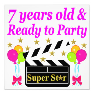 7 YEARS OLD AND READY TO PARTY MOVIE STAR DESIGN PHOTO PRINT