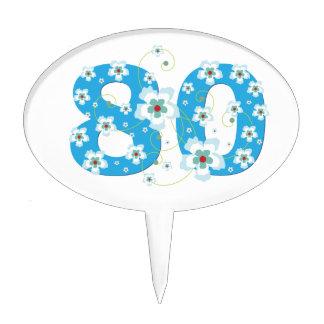 80th birthday beautiful blue hibiscus flowers cake pick