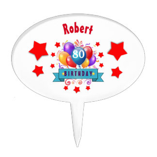 80th Birthday Festive Colorful Balloons C01HZ Cake Toppers