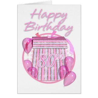 80th Birthday Gift Box - Pink - Happy Birthday Greeting Card