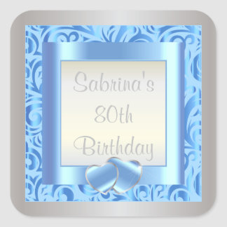 80th Birthday Party | DIY Text | Blue Square Sticker