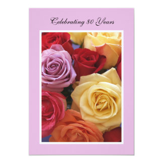 80th Birthday Party Invitation Roses