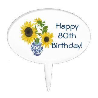80th Birthday Sunflower Cake Pick