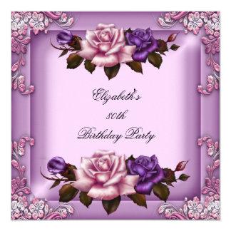 80th Elegant Lilac Pink Purple Roses Birthday 13 Cm X 13 Cm Square Invitation Card
