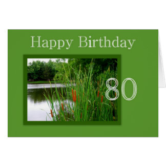 80th Happy Birthday Cat Tails on Pond Greeting Card