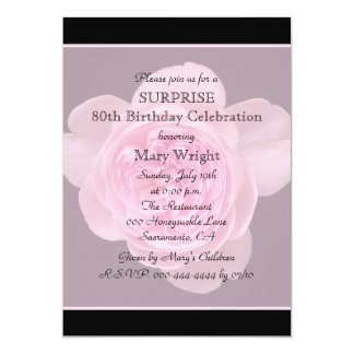 80th Surprise Birthday Party Invitation Rose