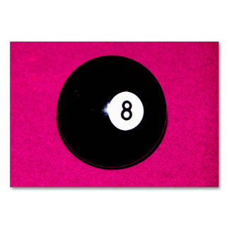 8 Ball on Pink Table Card