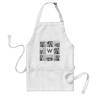 8 Photo Collage Custom Monogram Black and White Standard Apron
