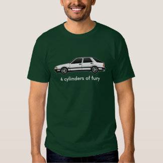 9000 white-turbo, 4 cylinders of fury t shirts