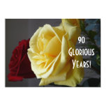 90 GloriousYears!-Birthday/Yellow Rose(with quote) 13 Cm X 18 Cm Invitation Card