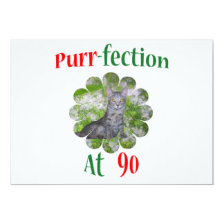90 Purr-fection 13 Cm X 18 Cm Invitation Card