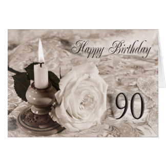 90th Birthday card with an antique rose