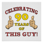 90th Birthday Gift For Him Poster