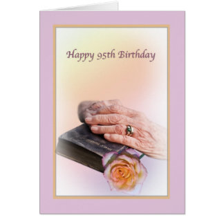 95th Birthday Card with Aged Hands and Bible