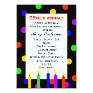 95th Birthday Party Invitation Candles and Dots