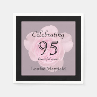 95th Birthday Party Rose Paper Napkins