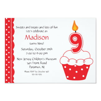 9th Birthday Cupcake Invitation