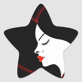 A beautiful girl in a red glowing hair star sticker