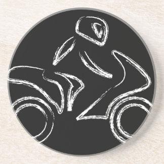 A biker on a motorbike beverage coaster