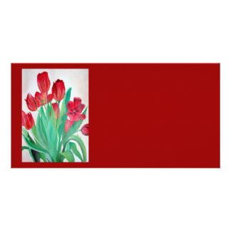 A Bouquet of Red Tulips Photo Card Template