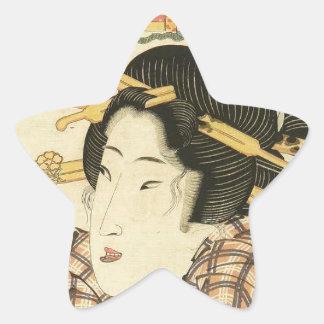 A bust portrait of a beauty by Keisai Eisen Star Sticker