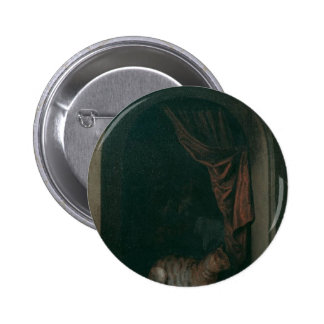 A cat at the window of a painters' studios by Gerr 6 Cm Round Badge