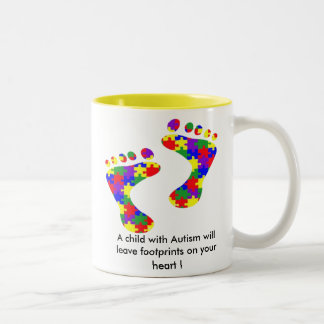 A child with Autism will leave footprints......... Two-Tone Mug