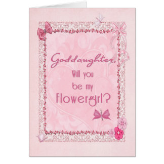 A craft look Flower Girl invitation Greeting Card