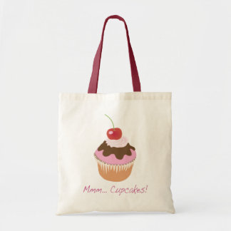 A Delicious Iced Cupcake with Cherry and Cream Budget Tote Bag