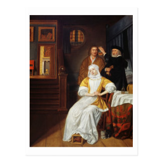 A Doctor Visiting a Young Lady in a Bedroom (oil o Postcard