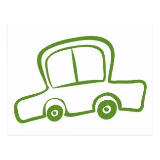 A drawing of a green car postcard