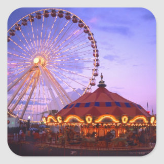 A ferris wheel and carousel at the Navy Pier in Square Sticker