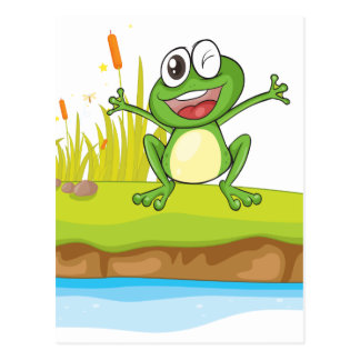 a frog and a water postcard