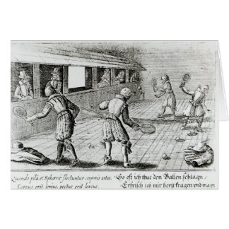 A Game of Real Tennis with Sport Ballads below Greeting Card